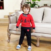 best trousers - Best Suits Baby Clothes Boys Clothing Sets Spring Red Shirt Korean Long Trousers Boys Suits Children Set Kids Outfits Lovekiss C22650