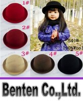 Wholesale Retail Little girls fedora hat Dome cap Children dress hats Kids caps felt hats wool felting Bowler hat LLFA4370F