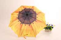 Wholesale New Yellow Purple Flower Sunflower Umbrella Folding Umbrellas for Rain and Sun Anti UV Sunshade Umbrella TY1169