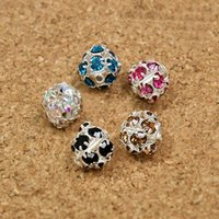 base metal spacer beads - 8mm Round Metal Base Silver Plated Rhinestone Loose Spacer Ball Beads for Shamballa Bracelet Jewerlry