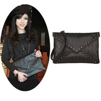 skull clutch - Feitong Women Fashion Skull Rivets Envelope Design Leather Crossbody Handbag Tote Bags Purse Wholesales