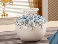 art gift basket - Porcelain Rattan Knitting Effect Vase Ceramic Flower Basket China Art and Craft Ornament for House Decoration and Souvenir Gift