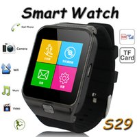 Wholesale S29 Bluetooth Smart Watch cell Phone With MP Touch Screen Smartwatch For iphone Samsung Galaxy S5 Multi Language