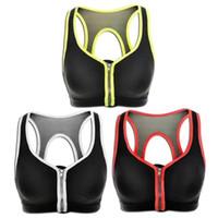 al por mayor dd sujetador-Mujeres de alto control de nivel 3 Active Zipped Plunge Gran apoyo deportivo sujetador 32 34 36 38 40 B C D DD