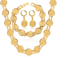 Wholesale Muslim Allah Jewelry K Real Gold Platinum Plated Chain Necklaces Charm Bracelets Drop Earrings Sets for Women