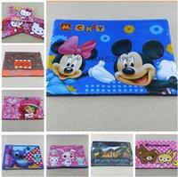Wholesale 8STYLES waterproof PVC kt Mickey Spiderman Car Princess Pen Bags School File A4 Document Bag Travel makeup bag S00126