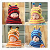 Wholesale Beanie Baby Hats Caps Winter Hat Ear Plus Velvet Collar Scarf Sets All For Children Clothing and Accessories