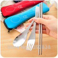 Wholesale High Quality Eco friendly Three colors Outdoor Portable Lunch Stainless Steel Chopsticks Spoon Fork Tableware Sets