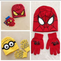 Wholesale Minions Spiderman caps and gloves new cartoon Despicable Me Minion winter knitted kids girls boys hats gloves children gift