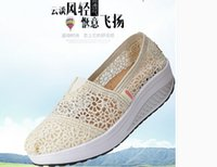 Wholesale Summer hollow mesh shoes lazy shoes lace canvas shoes shook slope with female shoes sports shoes muffin