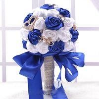 beautiful beach homes - Beautiful Bridal Bouquet Crystal beaded Wedding Flowers Satin Material High Quality Garden Church Beach Home Accessories