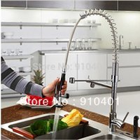 Wholesale Hot Sale And Retail Promotion Chrome Brass Spring Kitchen Faucet Pull Down Swivel Spout Vessel Sink Mixer Tap