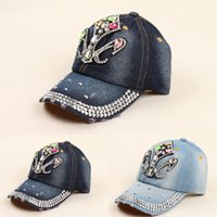 ab baseball - New Hot sale Summer style AB rhinestone cowboy baseball axe point drill baseball cap for women High quality New Retail