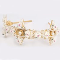 Wholesale china handmade new lucky gold plated reshin flower headband pearl rows hair jewelry lady Luxurious party wedding head dress
