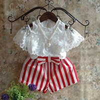 Cheap Girl Striped Shorts Suits Best Minnie Mickey Tshirt