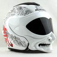 Venta al por mayor MARUSHIN C609 lente doble cara abierta motocicleta casco estilo fantasma visera vintage helemt casco capacete casque moto carreras de cascos