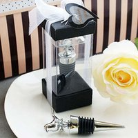 Wholesale With Gift boxes Love Birds Chrome Wine Bottle Stoppers Wedding Favors In Stock