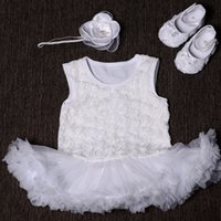 baby baptism shoes - Christening baptism Girl vestido infantil baby dress Rhinestone Headband Shoes Set Flower baby clothing girl sapatos set S5341