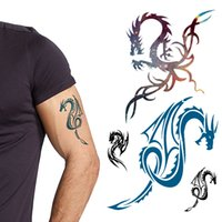 arm dragon tattoos - 100pcs Stylish Dragon Design Disposable Tattoos Waterproof Temporary Henna Sticker Men s Ladies Decoration js007