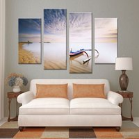 beach decor ideas - 4 Panel boat belong beach set paints Wall painting print on canvas for home decor ideas paints on Wall pictures pinturas al oleo