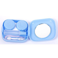 Wholesale Free DHL Cute Pocket Mini Contact Lenses lentillas Case Travel Kit Easy Carry Mirror Container Holder lentes