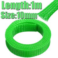Wholesale 10mm M inch PET Braided Expandable Auto Wire Cable Gland Sleeves Sleeving High Density Sheathing Green