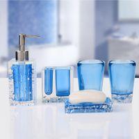 bath accessories kit - Modern Practical Bath Set Candy Colors Resin Bathroom Set Five Pieces Bathroom Dental Set Kit Soap Dish Dispenser Bath Accessory order lt no