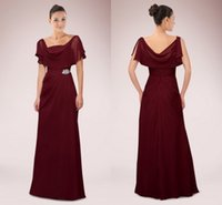 Wholesale 2014 Grape Wine Color Chiffon Mother Of Bride Dresses Scoop Collar A Line Floor Length Formal Fashion China Cheap Evening Party Dress Gown