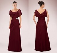 wine grapes - 2015 Grape Wine Color Chiffon Mother Of Bride Dresses Scoop Collar A Line Floor Length Formal Fashion China Cheap Evening Party Dress Gown