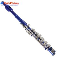 Wholesale High Quality Leather Case Style Silver Blue Metal Head Piccolo with Screwdriver Cleaning Rod