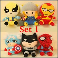 Wholesale 2015 New CM American anime superhero spiderman Plush Dolls Sucker Pendant Toys childhood cartoon version stuffed dolls set SVS0139