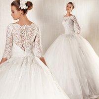 online store - HK1450F China Online Store Elegant Lace Slim Bride Gown Luxury Bridal Wedding Dress Transparent Half Sleeve With Sequins