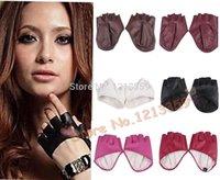 fashion fingerless leather gloves - Fashion PU Half Finger Lady Leather Lady s Fingerless Driving Show Jazz Gloves for Women Men DD for female