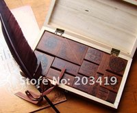 antique post cards - Wooden vintage Antique stamper Stamp seal PC set greetings card PC diary carved decro DIY gift craft toy CN post