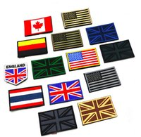 Wholesale Canada America England Germany Russia Flag Embroidery Double Faced Velcro Cloth Epaulette Armband Badge Army Tactical Patches D138