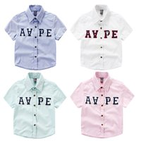 Wholesale Cool Shirts Collar Style - Cool! 2016 spring summer Brand Boy turn-down collar shirt England style letter shirts Kids Tops 100%cotton High quality factory supply