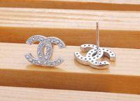 sterling silver earrings - Wholesales Number earrings Fashion stud earrings female models small upscale Swiss Diamond Sterling Silver earrings earring silver