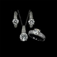 Earrings & Necklace best designer engagement rings - Elegant Design Crystal Necklace Earring and Rings Jewelry Set for Ladies Designer Party Wedding Jewelry Best Gifts