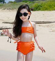 swimwear - Fashion children swimsuits girls orange bikini swimwear sets kids spa beachwear children swimwear