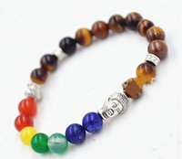 Wholesale New Products mm Natural Tiger Eye Stone beads Chakra Buddha Bracelet Yoga Meditation Energy Jewelry
