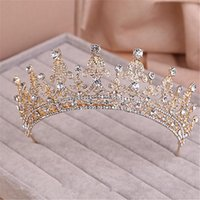 Wholesale Trend Vintage Lady Tiara Wedding Bridal Prom Women Gold Crystal Rhinestone Headband Crowns Bling Hair Accessories Hair Jewelry Set