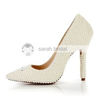 Wholesale Fashion Wedding Shoes With Imitation Pearl Pointed Toe High Heel Hot Custom Made Cheap Ivory Woman s Party Prom Bridal Shoes LSDN1501