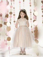 Wholesale High Neck Bow Tie Waistline Elegance Tea Length Ball Gown Sequins Flower Girl Dresses Custom Size Chamapgne Evening Dress Girl