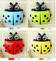 Wholesale Free Ems New Cute Funny Cartoon Yellow Red Blue Green Pink Ladybug Sucker Suction Hook Tooth Brush Holders Hot Bathroom Accessories YW16 H02