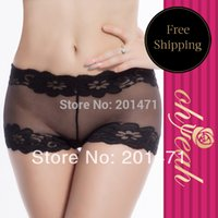 Cheap Wholesale-DY291P Black With Black Lace Flower Edge Women See Through Underwear Women Boxer Hip And Butt Enhancer Seamless Thong