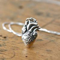 anatomically correct heart necklace - 20pcs golden anatomical heart necklace silver heart jewelry anatomically correct