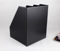 Wholesale Cabinet Desk Organizers - Wholesale-3-slot wooden leather desk file book document box shelf container filing organizer holder cabinet A4 back 219A