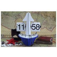 alarm clock hands - Steamship Table Clock Hand made Aircraft Shape Retro Gear Operated Flip Down Wall Clock Flip Living Room Decor Special Gift H16084