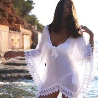 crocheted dress - 2015 Sheer Swimwears Bathing Suit Cover Up Sexy Crochet White Pareo Beach Dress Summer Bikini Swimsuit Cover Up Plus Size OXL070306