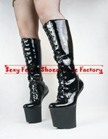 20cm high heels - Extreme high heel cm inch sexy fetish heel platform Slugged Bottom Hoof boots no heel sexy knee high boots BDSM lace up heelless boots